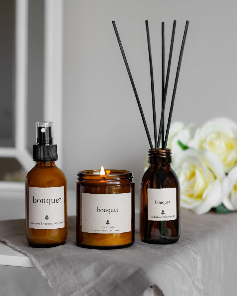 BOUQUET Candle, room diffuser and room spray from NOLA candles